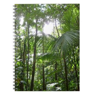 Sunlight Through Rainforest Canopy Tropical Green Spiral Notebook