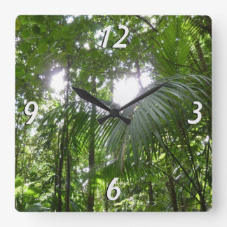 Sunlight Through Rainforest Canopy Tropical Green Square Wall Clock