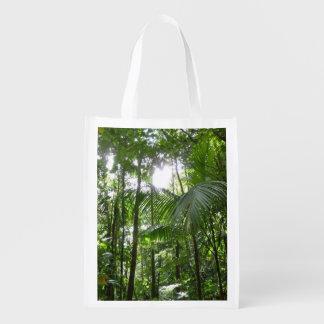 Sunlight Through Rainforest Canopy Tropical Green Market Tote