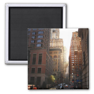 Sunlight Through Skyscrapers, New York City 2 Inch Square Magnet