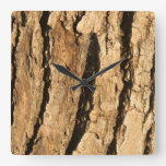 Sunlit Bark Square Wall Clock