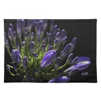 Sunlit Blooming Purple Agapanthus, African Lily Cloth Placemat