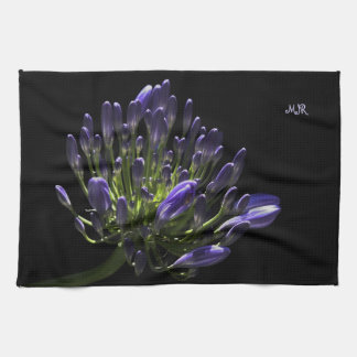 Sunlit Blooming Purple Agapanthus, African Lily Hand Towel