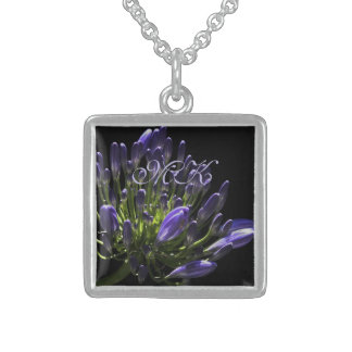 Sunlit Blooming Purple Agapanthus, African Lily Sterling Silver Necklace