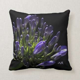 Sunlit Blooming Purple Agapanthus, African Lily Throw Pillow