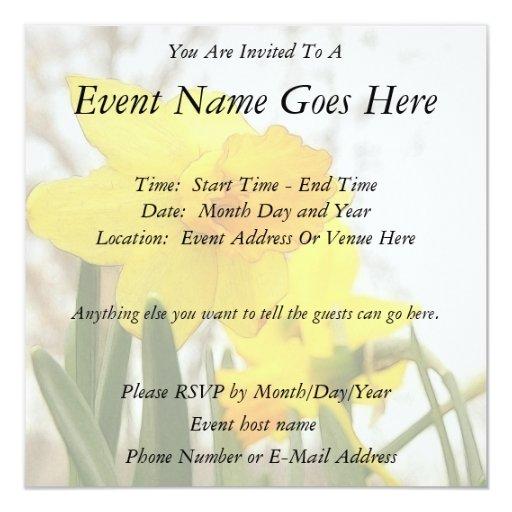 Sunlit Daffodils 5.25x5.25 Square Paper Invitation Card