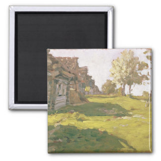Sunlit Day. A Small Village, 1898 Magnet