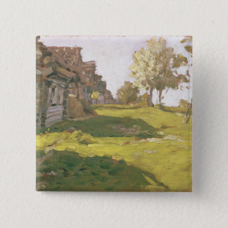 Sunlit Day. A Small Village, 1898 Pinback Button