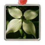 Sunlit Dogwood Blossom White Spring Flower Metal Ornament