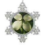 Sunlit Dogwood Blossom White Spring Flower Snowflake Pewter Christmas Ornament