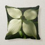 Sunlit Dogwood Blossom White Spring Flower Throw Pillow