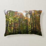 Sunlit Fall Forest Autumn Landscape Photography Decorative Pillow