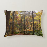 Sunlit Fall Trail in Laurel Hill State Park Decorative Pillow