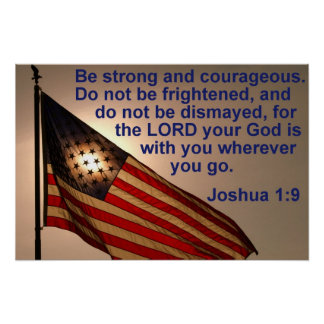 Sunlit Flag with Joshua 1:9 Poster