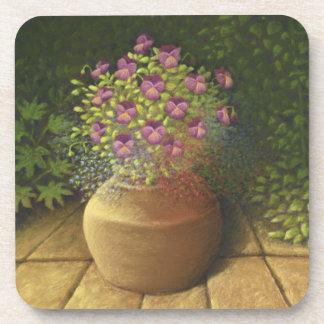 Sunlit Pansies & Lobelia in Pot Coasters