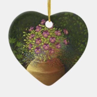 Sunlit Pansies & Lobelia in Pot Happy Birthday Double-Sided Heart Ceramic Christmas Ornament