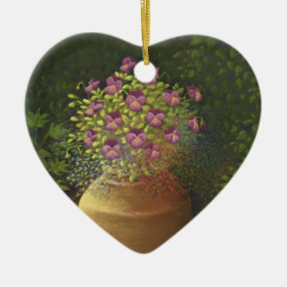 Sunlit Pansies & Lobelia in Pot Heart Thank You Double-Sided Heart Ceramic Christmas Ornament