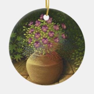 Sunlit Pansies & Lobelia in Terracotta Pot Double-Sided Ceramic Round Christmas Ornament