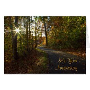 Sunlit Path Anniversary Card at Zazzle