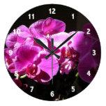 Sunlit Purple Orchids Clock