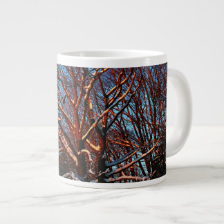 Sunlit Snow Covered Trees Giant Coffee Mug