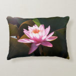 Sunlit Waterlily Pink Floral Water Garden Accent Pillow