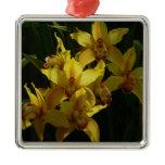 Sunlit Yellow Orchids Elegant Floral Metal Ornament