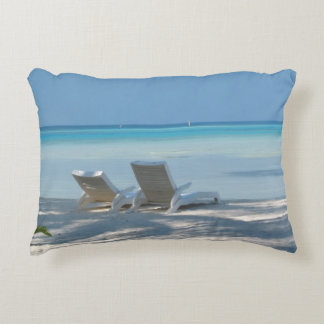 Sunloungers on a White Sand Beach, Maldives Accent Pillow