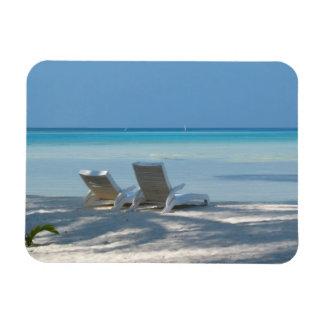 Sunloungers on a White Sand Beach, Maldives Rectangular Photo Magnet
