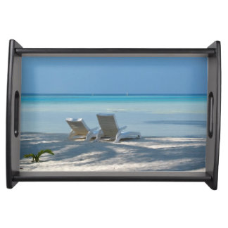Sunloungers on a White Sand Beach, Maldives Serving Tray