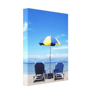 Sunlounges on a Sunny Beach Canvas Print