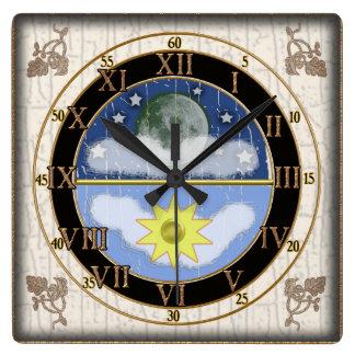 sunmoon dial square wall clock