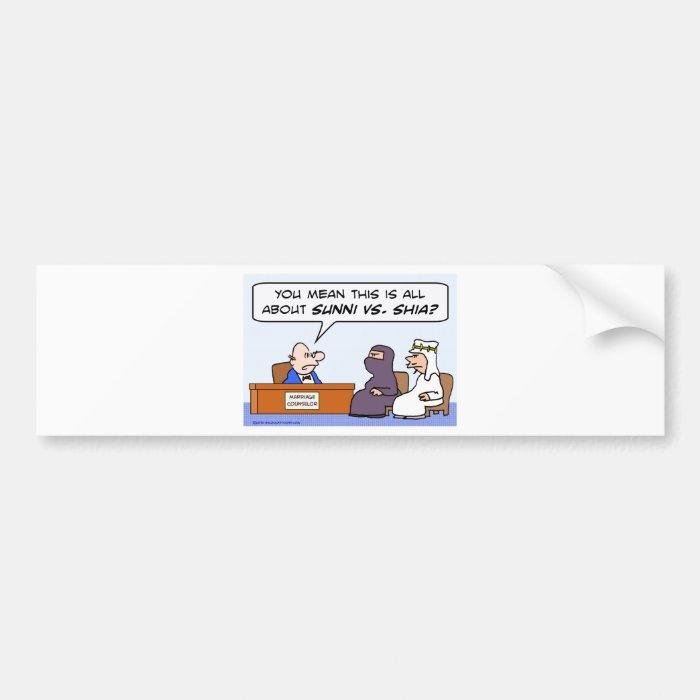 sunni shia, islam, muslim, marriage, counselor bumper sticker