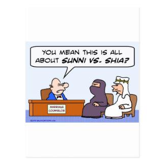 sunni shia, islam, muslim, marriage, counselor postcard
