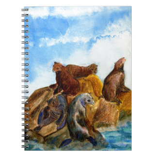 Sunning Harbor Seals - watercolor Spiral Notebooks