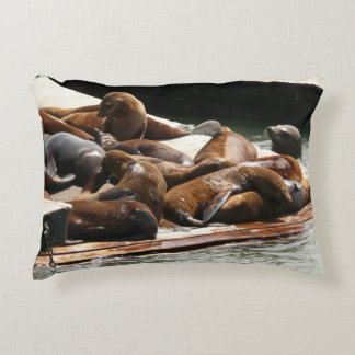 Sunning Sea Lions San Francisco Animal Photography Accent Pillow