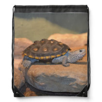 Sunning Turtle Drawstring Backpack