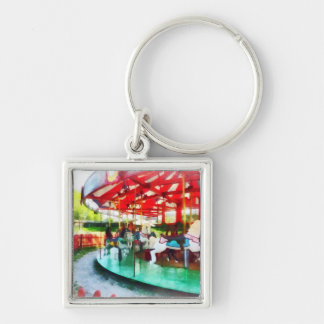 Sunny Afternoon on the Carousel Silver-Colored Square Keychain