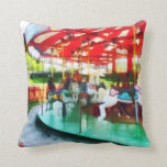Sunny Afternoon on the Carousel Throw Pillow