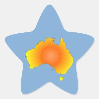 Sunny Australia Map Star Sticker