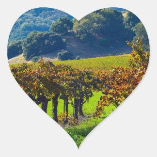 Sunny Autumn Vineyard Heart Sticker