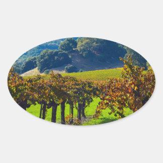 Sunny Autumn Vineyard Oval Sticker