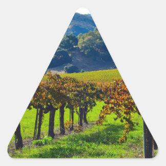 Sunny Autumn Vineyard Triangle Sticker