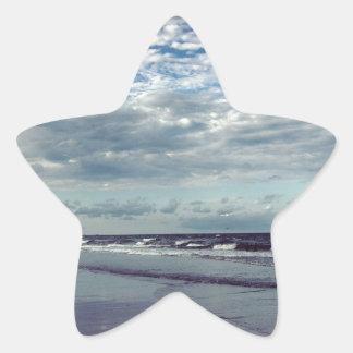 sunny beach day star sticker