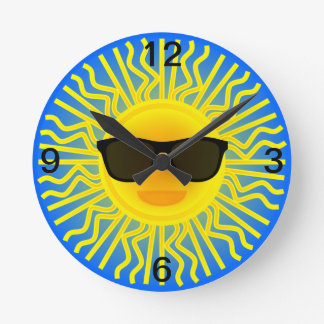 Sunny Beach Day Sun with Sunglasses Choose Color Round Clocks