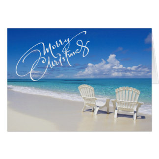 Sunny Beach With 2 Chairs Christmas Card