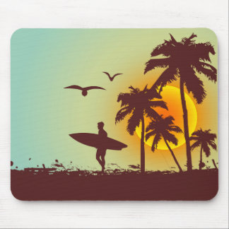 Sunny beach with palm surfer in Hawaii Mouse Pad