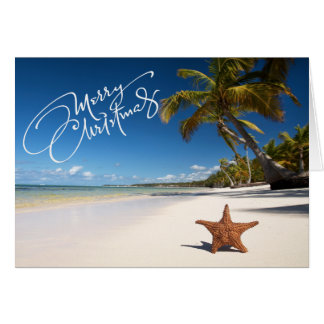 Sunny Beach With Starfish Christmas Card