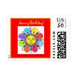 Sunny Birthday  - Postage Stamp (red)
