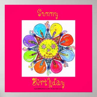 Sunny Birthday - Poster (fuschia)
